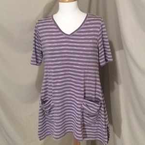 LOGO by Lori Goldstein Striped Purple T-shirt